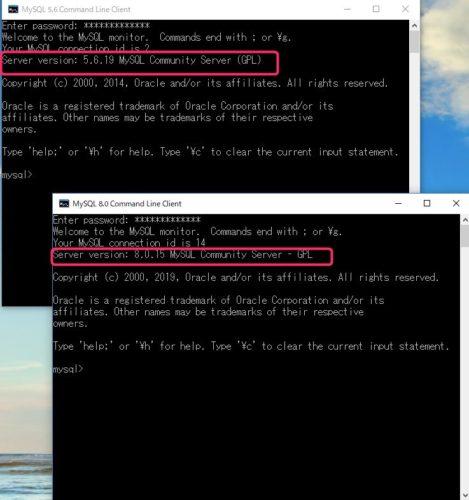 バージョン8と5.6の共存確認