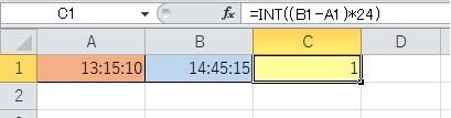 2つの時間の差を求めて時間数(整数)を表示