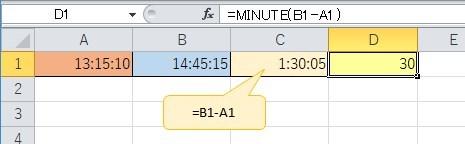 """2つの時間の差を求めて""""じ分""""の値を表示"""